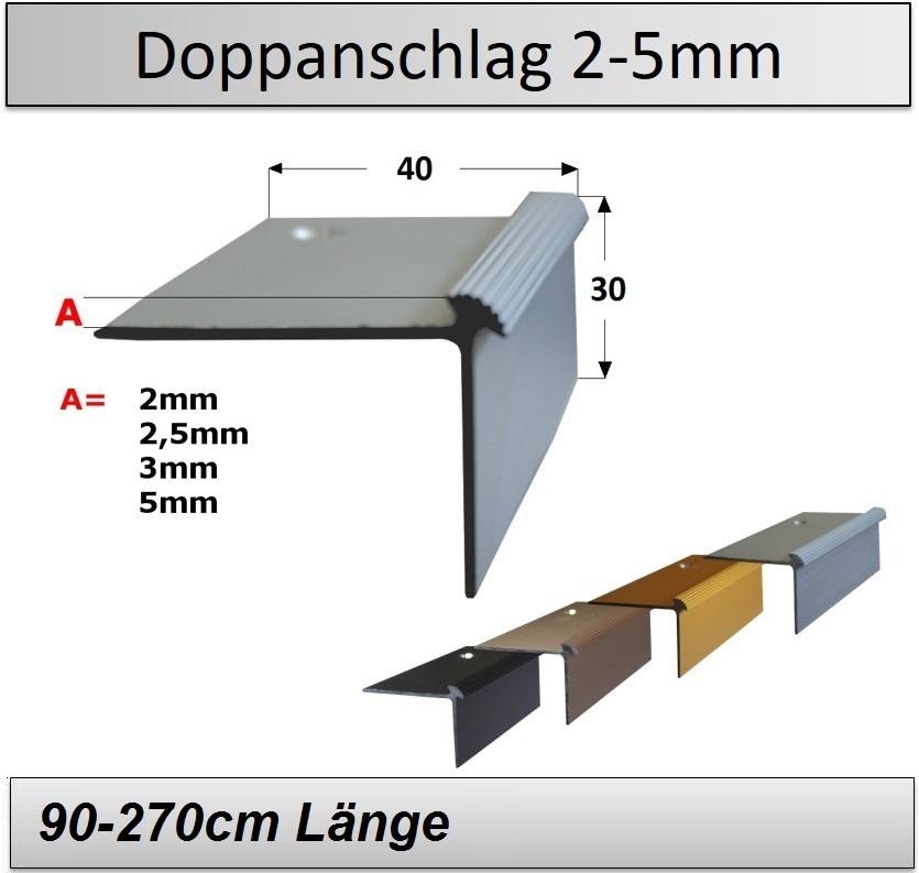 Treppenkantenprofil Fliesen: 2-5mm Vinyl-Treppenkantenprofil (Doppelanschlag) -TOP Preise