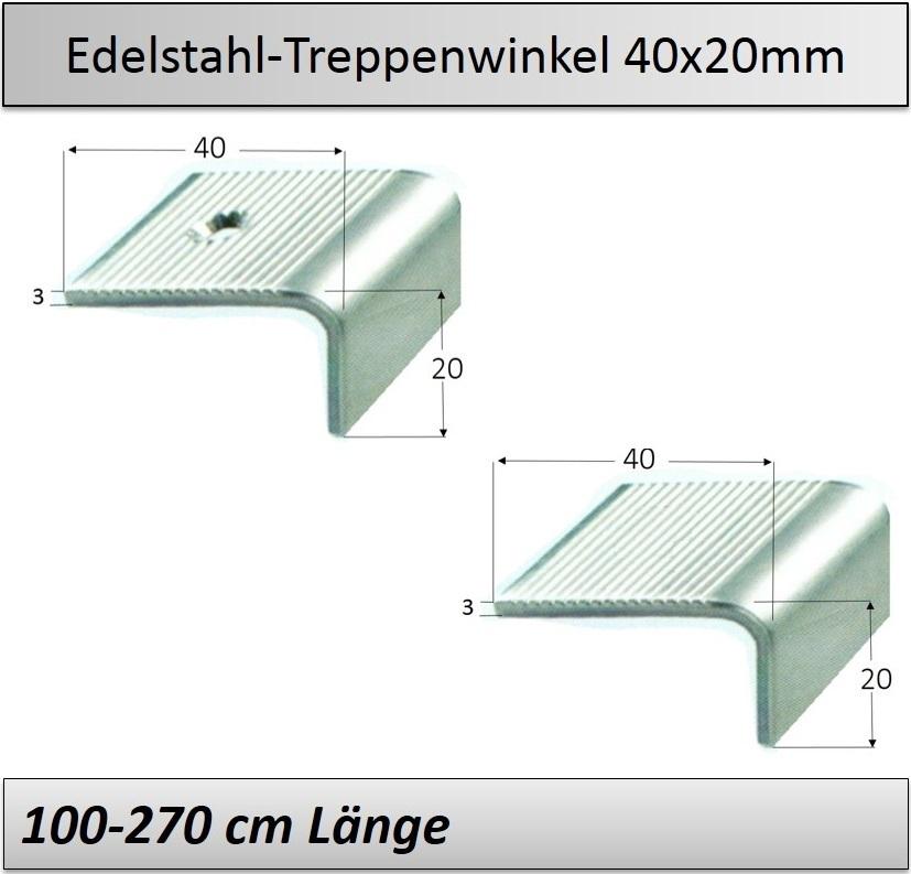 Treppenkantenprofil Fliesen: 40x20mm Edelstahl-Treppenkanten