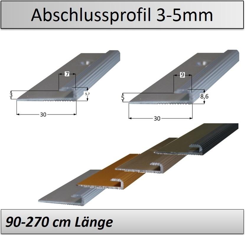16mm Alu Abschlussprofil GOLD Ausgleichsprofil Übergangsprofil 5mm