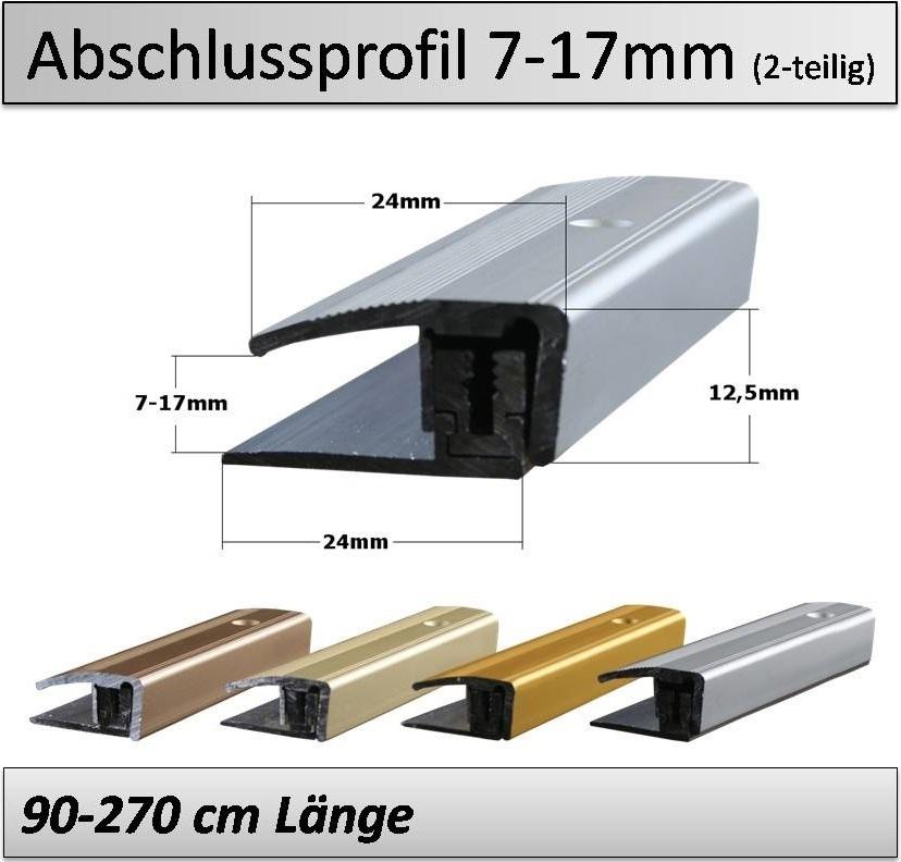 Treppenkantenprofil Fliesen: 7-17mm Abschlussprofil-flex- 3-teilig- TOP Qualität U. Preis