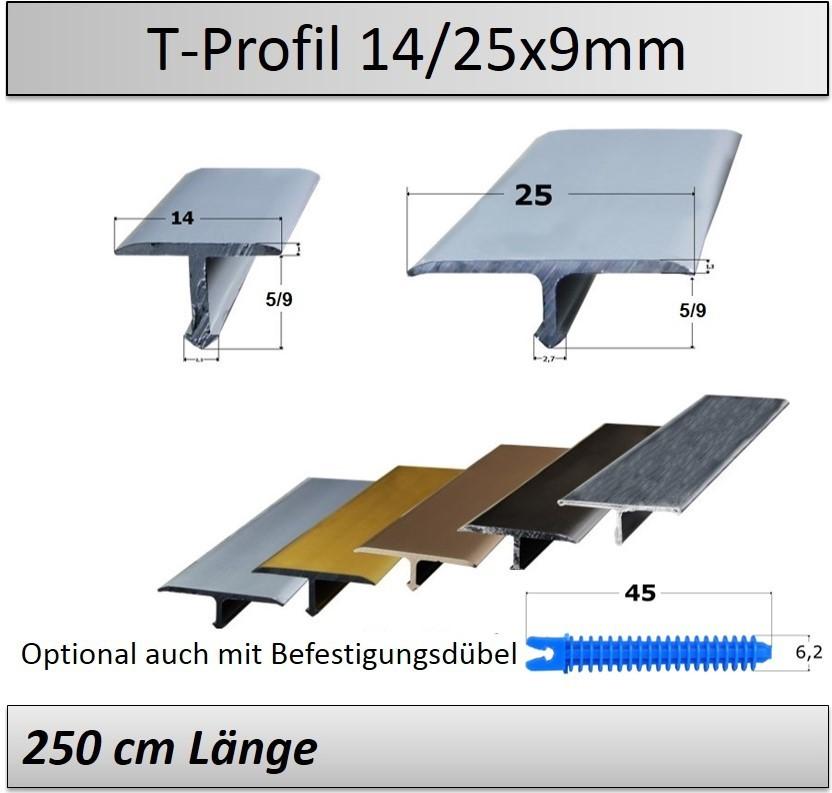 14 25mm Ubergangsprofil T Profil Aluminium Edelstahl Matt
