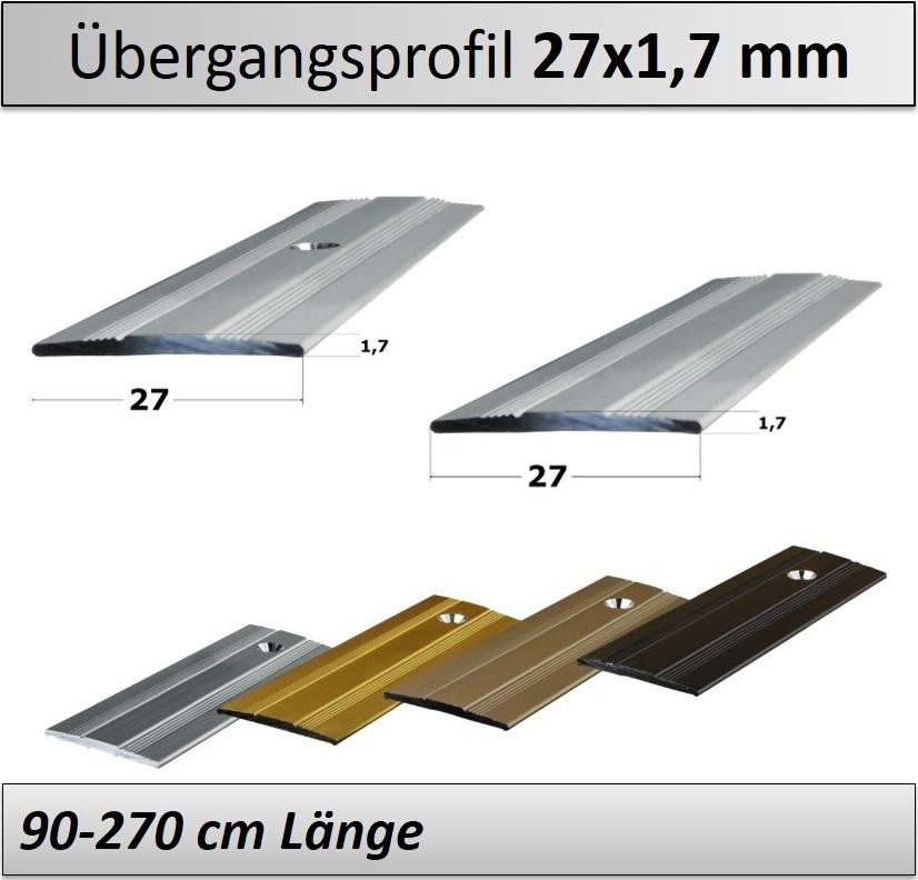 Treppenkantenprofil Fliesen: 27x1,7mm Übergangsprofil Gebohrt/ Selbstklebend