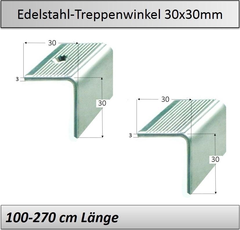 Treppenkantenprofil Fliesen: 30x30mm Edelstahl-Treppenkantenprofil/ Treppenstufenwinkel