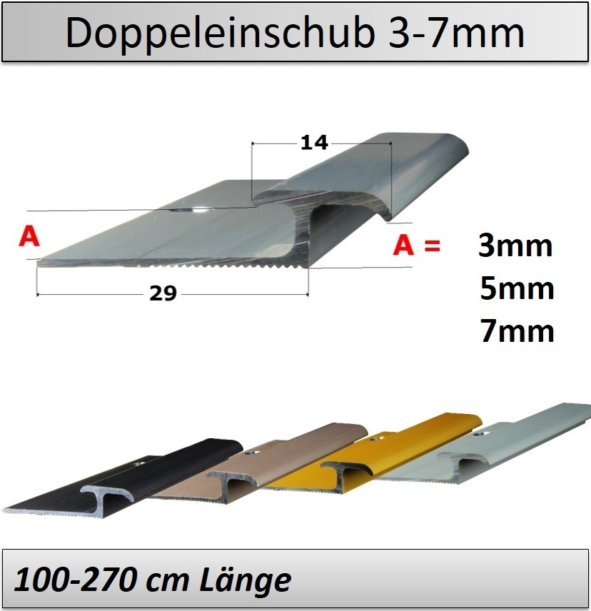 3 7mm Ubergangsprofil Doppeleinschub Fur Vinyl 90 270cm