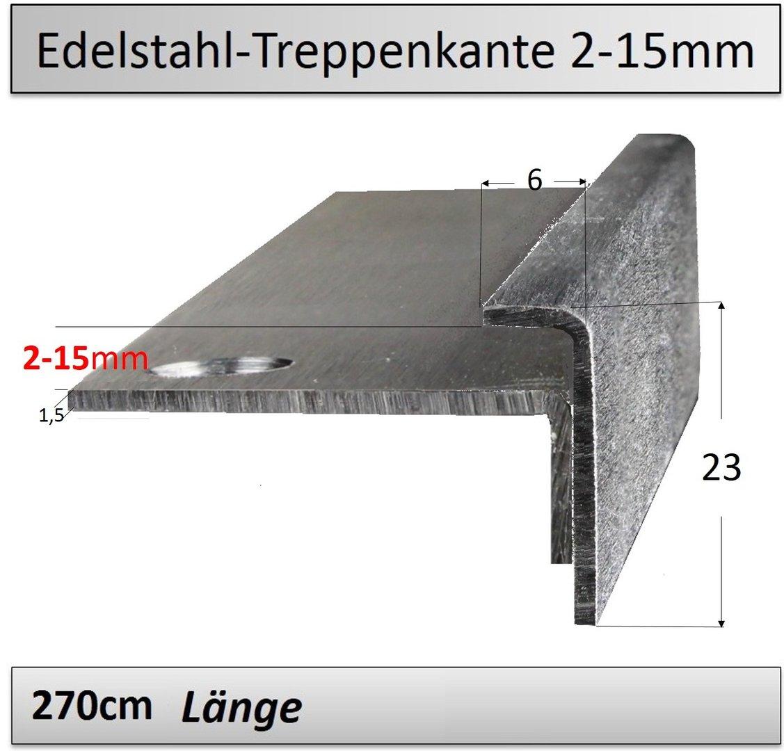 Treppenkantenprofil Fliesen: 2-15mm Edelstahl-Treppenkantenprofil TOP Preis/ Qualität