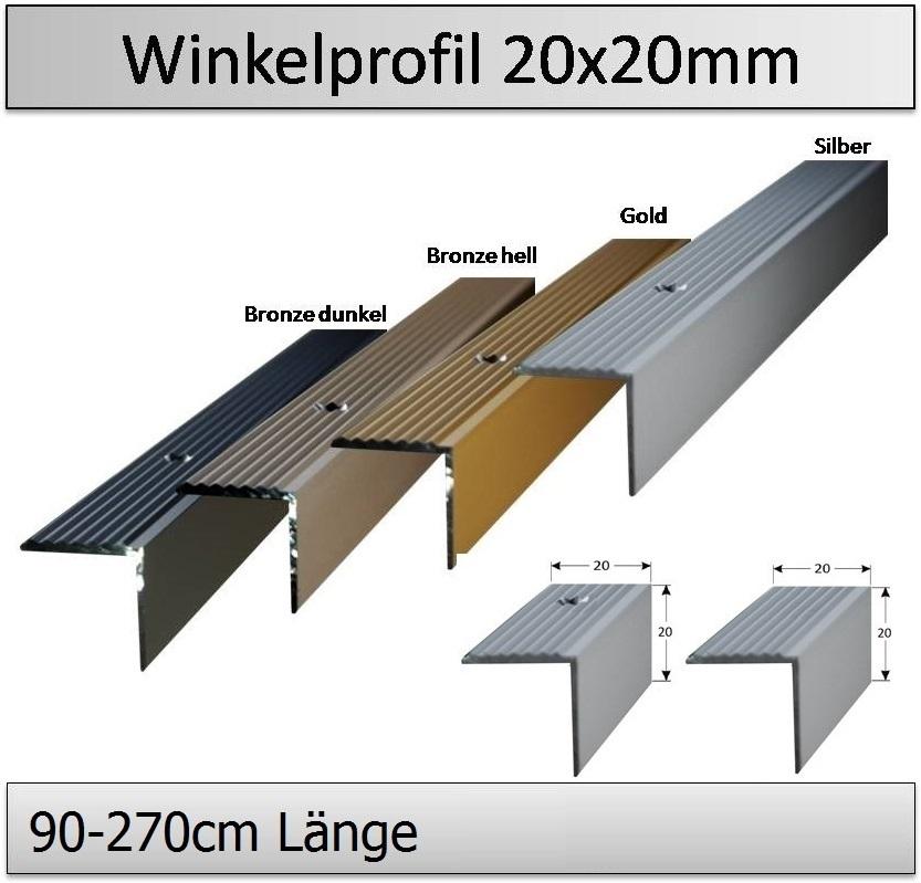 20 x 20 mm Alu eloxiert gebohrt Treppenkantenprofil FARBE: Bronze dunkel