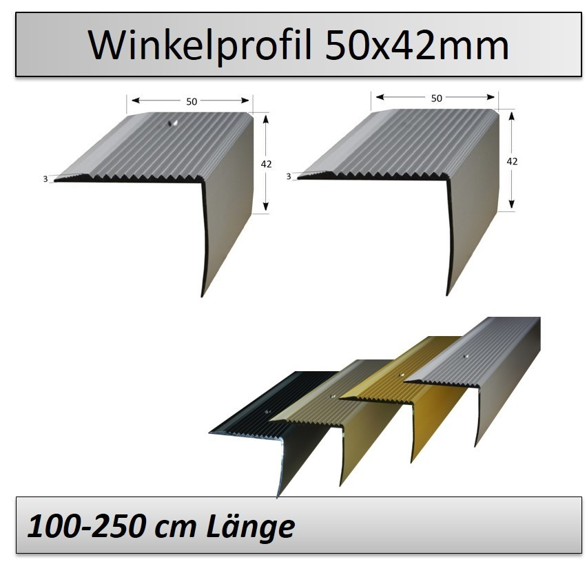 Treppenwinkel 10 x 25 mm gold zum schrauben Treppen-Kantenprofil Stufen-Profil Alu-Winkel-Profil 4,04/€//m 800 mm gebohrt, gold