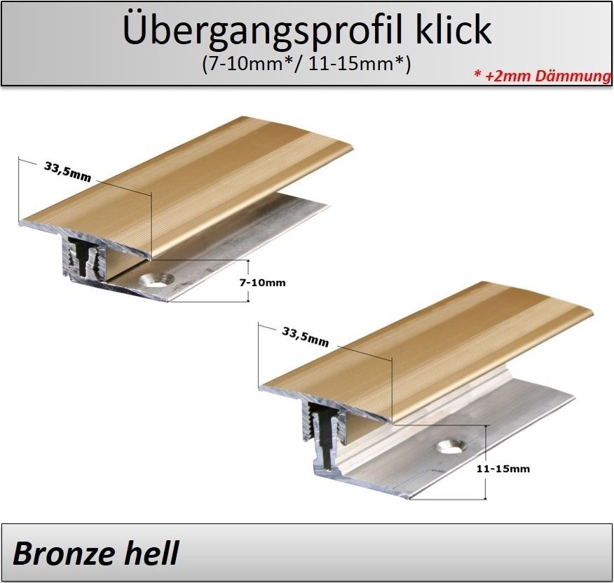 7 15mm Laminat Parkett Übergangsprofil klick 2 teilig TOP
