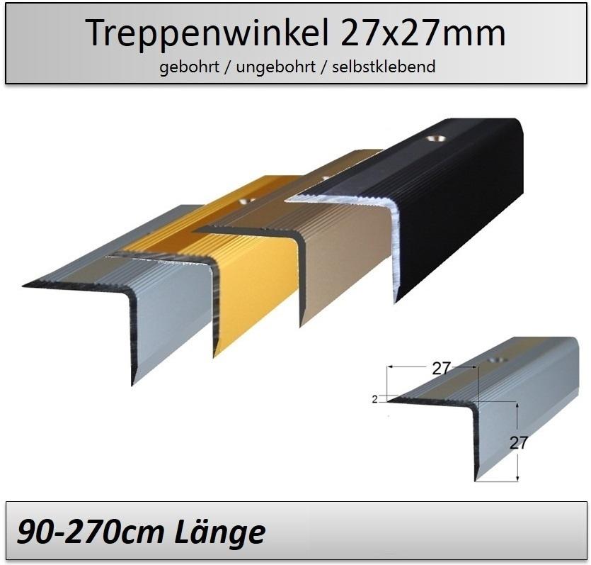 27x27mm Treppenkantenprofil//Treppenwinkelprofil  •gebohrt •ungebohrt •4 Farben