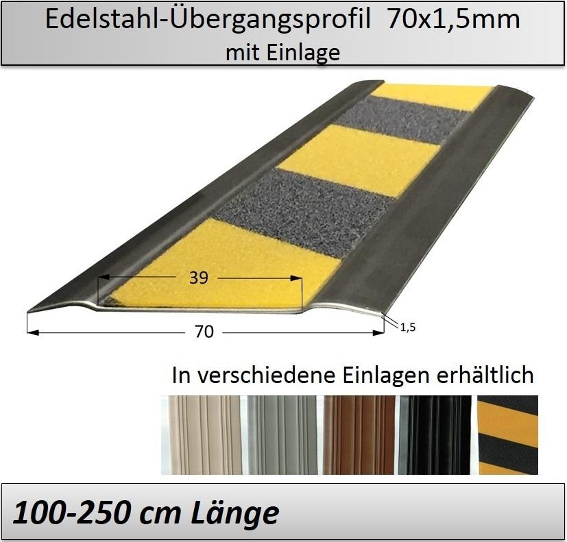 70mm edelstahl bergangsprofil mit antirutsch einlage 100 250cm. Black Bedroom Furniture Sets. Home Design Ideas