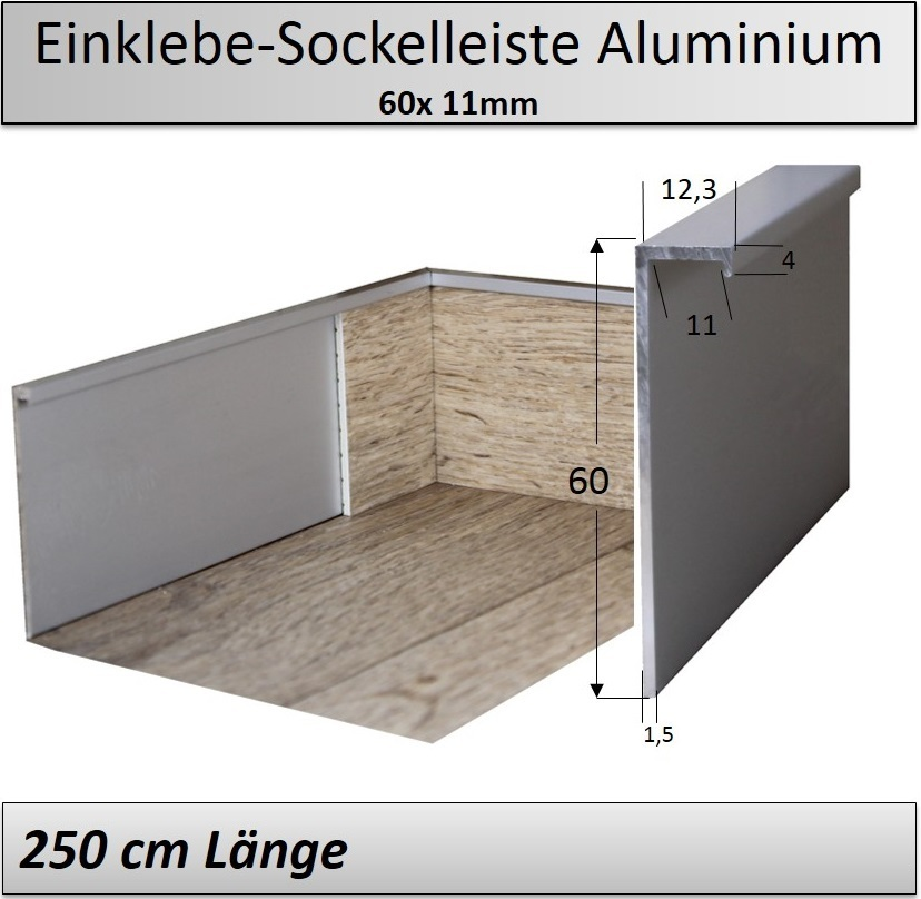 aluminium einklebe sockelleiste 60mm top design u preis. Black Bedroom Furniture Sets. Home Design Ideas