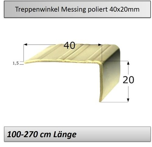 40x20mm Treppenkantenprofil Messing-poliert
