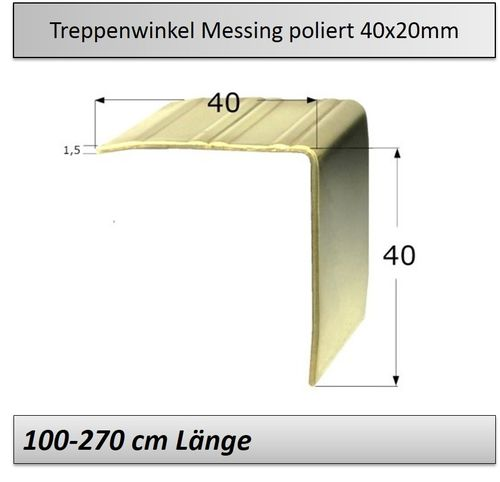 40x40mm Treppenkantenprofil Messing-poliert