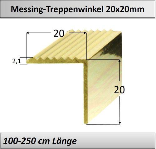 20x20mm Treppenprofil Messing poliert